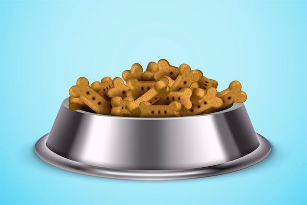 Cibo per cani in una ciotola di metallo su blu in illustrazione 3d