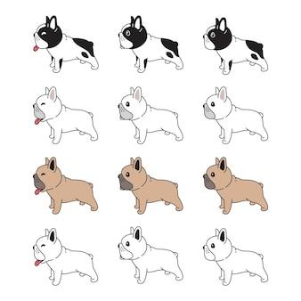 Doodle del cucciolo dell'animale domestico del personaggio dei cartoni animati del bulldog francese del cane