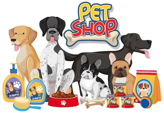 Gruppo di cani con prodotto di elementi di cane su sfondo bianco