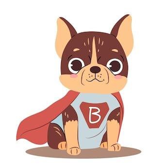 Cane in costume da superman di halloween cute baby bulldog isolato su sfondo bianco