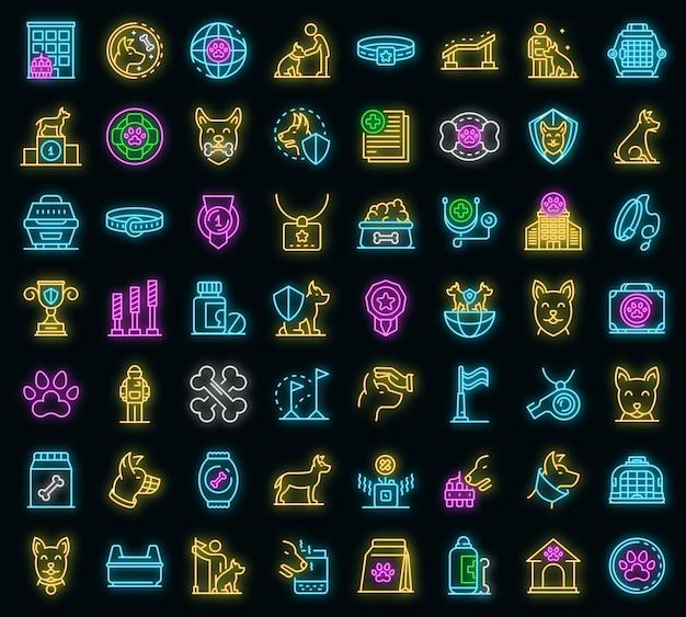 Set di icone del gestore del cane. delineare l'insieme delle icone vettoriali del gestore del cane colore neon su nero