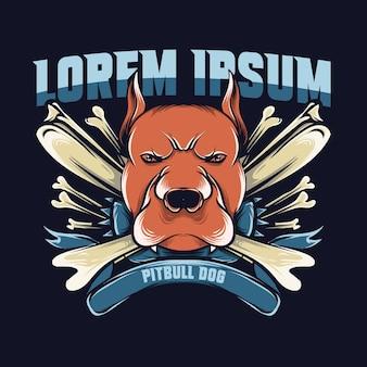 Illustrazione della testa di cane con ossa di pitbull e scritte per logo e maglietta