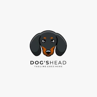 Logo di vettore dell'illustrazione della mascotte della testa di cane.