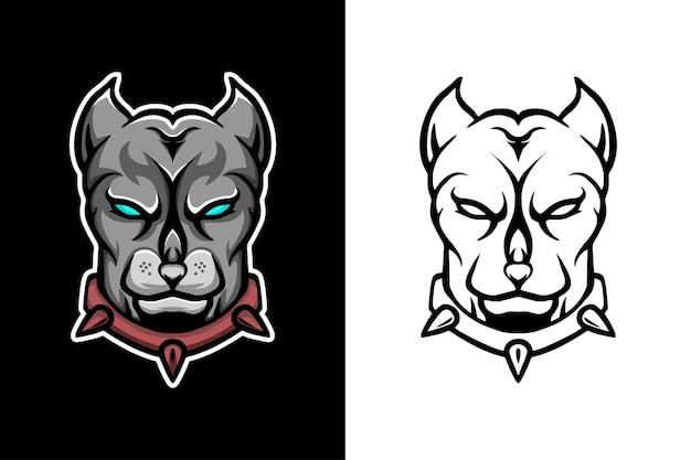 Disegno del logo della mascotte della testa di cane