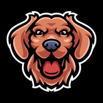 Modello di logo mascotte testa di cane Vettore Premium
