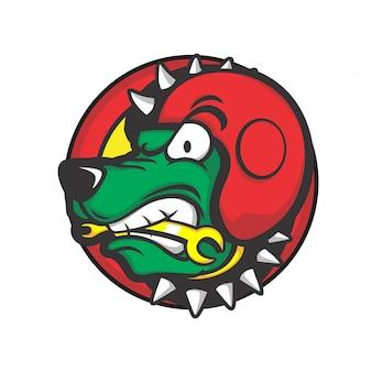 Testa di cane che indossa un casco rosso e morde uno strumento