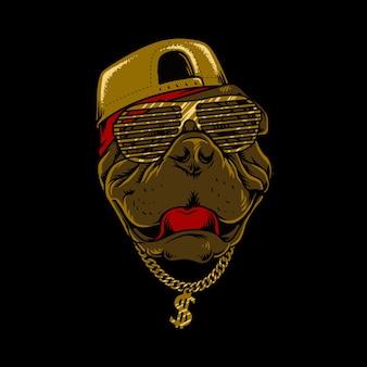 Illustrazione di stile hip-hop del cane