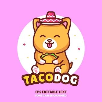 Dog holding taco logo vector icon illustrationpremium fast food logo in stile piatto per ristorante