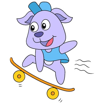 Il cane è attivamente sullo skateboard, un simpatico personaggio disegnato a mano. illustrazione vettoriale