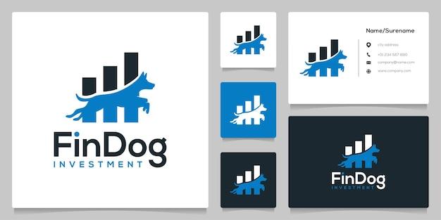 Dog jump financial bar logo design
