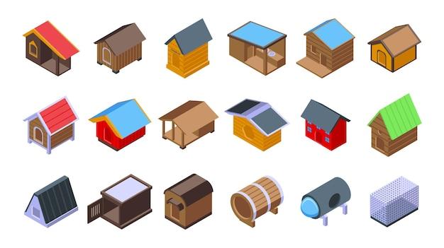 Cuccia per cani set di icone vettore isometrico. cibo per animali
