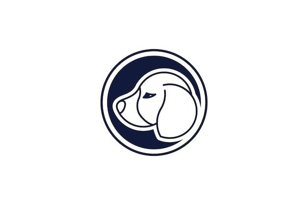 Modello di design del logo del cane con design in stile line art