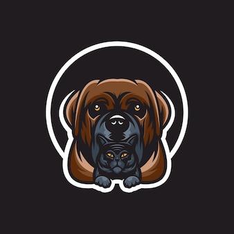 Disegno del logo del cane con il gatto sul fondo