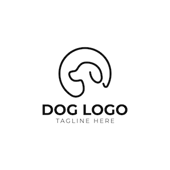 Logo del cane e vettore di design dell'icona.