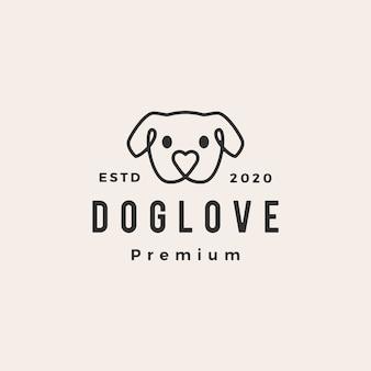 Illustrazione d'annata dell'icona di logo dei pantaloni a vita bassa di amore del cane