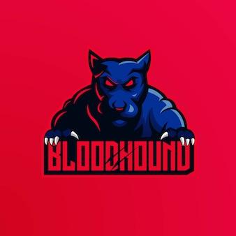Vettore di progettazione di logo della mascotte del cane con stile moderno di concetto dell'illustrazione per stampa del distintivo, dell'emblema e della maglietta