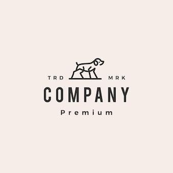 Modello di logo vintage hipster di contorno di cane monoline