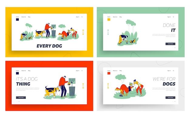 Proprietari di cani ripuliscono le feci dopo gli animali domestici sul set di modelli di pagina di destinazione stradale