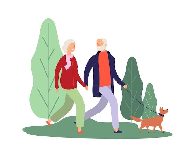 Proprietari di cani. coppie anziane che camminano con il cucciolo. Vettore Premium