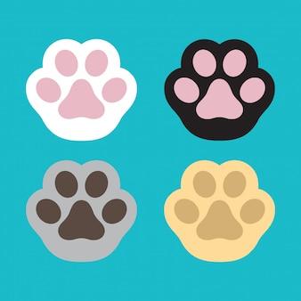 Cartone animato di impronta vettoriale zampa di cane