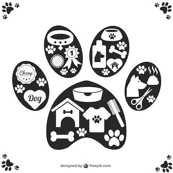 Vettore di animali domestici icone zampa di progettazione
