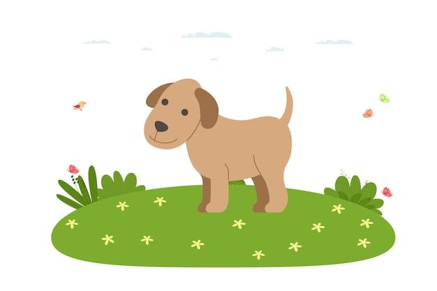 Cane. animali da compagnia, domestici e da fattoria. il cane sta camminando sul prato. illustrazione di vettore nello stile piano del fumetto.