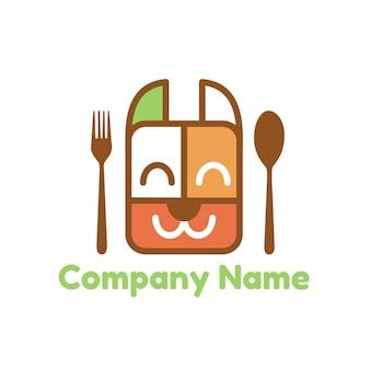 Cibo per cani o animali domestici e scatola per il pranzo modello di logo vettoriale con posate cucchiaio e forchetta su sfondo bianco