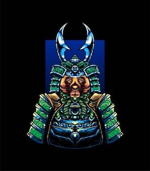 Cane samurai vector illustration, moderno stile cartone animato adatto per t-shirt o prodotti di stampa