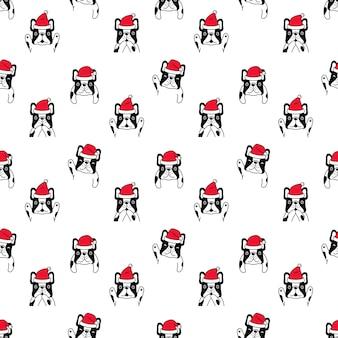 Cane seamless pattern natale bulldog francese babbo natale