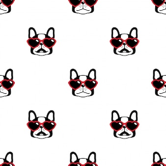 Cane seamless pattern bulldog francese cuore occhiali da sole cartoon