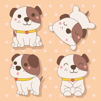 Cane - set di simpatici animali kawaii charactor illustrazione