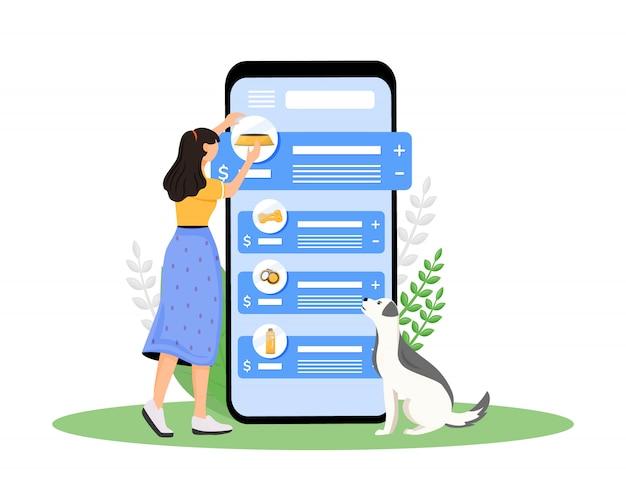Schermata di app per smartphone del fumetto del negozio di cani