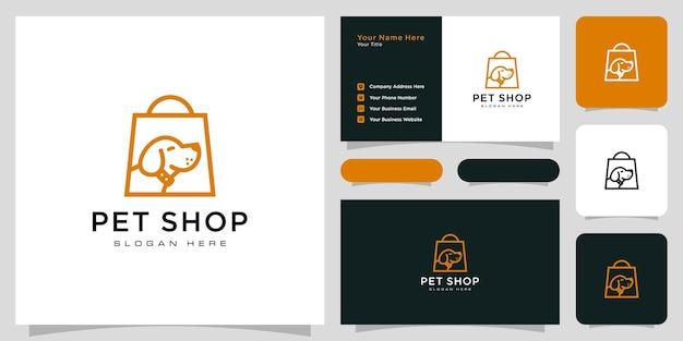 Disegno vettoriale e biglietto da visita del logo del negozio di cani