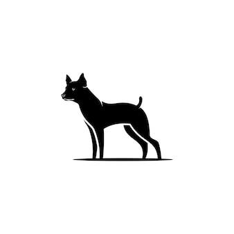 Design del logo di sagoma di cane