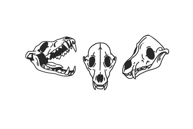 Cranio di cane set collezione linea sacra icona arte in stile semplice isolato su priorità bassa bianca