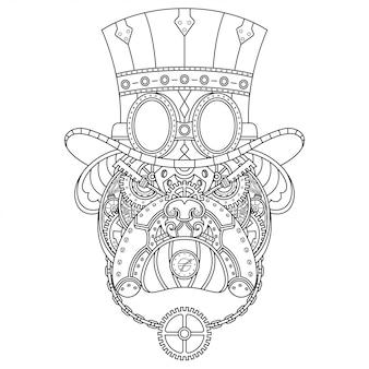 Cane steampunk illustrazione stile lineare