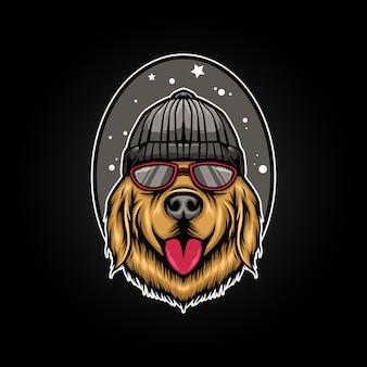 Illustrazione divertente stile cane Vettore Premium