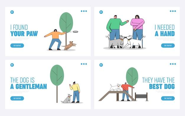 Concetto di addestramento del cane. pagina di destinazione del sito web.