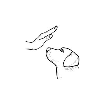 Icona di doodle di contorni disegnati a mano di addestramento del cane. cucciolo con braccio umano come concetto di addestramento degli animali