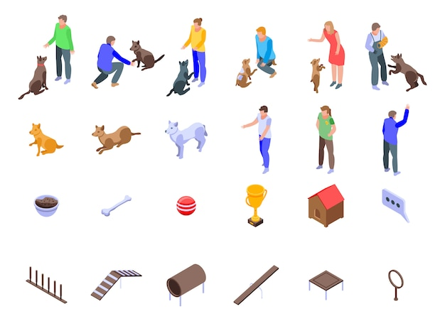 Icone di addestramento del cane messe, stile isometrico