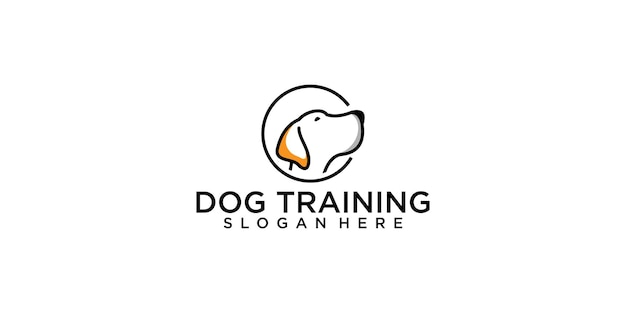 Modello di progettazione del logo di addestramento del cane