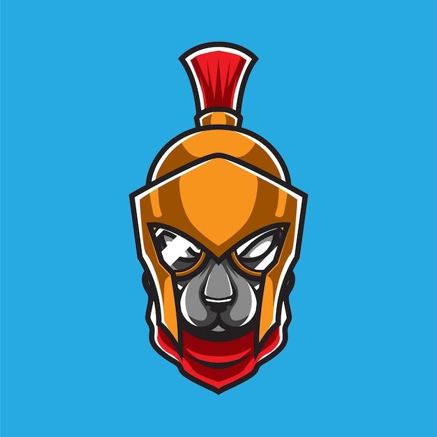 Logo della mascotte del guerriero del cane