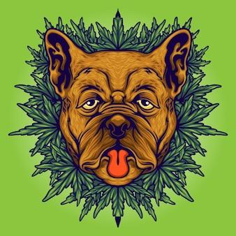 Dog weed cannabis background illustrazioni vettoriali per il tuo lavoro logo, t-shirt di merce mascotte, adesivi e disegni di etichette, poster, biglietti di auguri pubblicitari società o marchi.