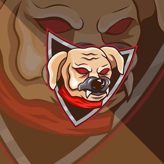 Cane con mascotte scudo esport logo design modello logo e tshirt team