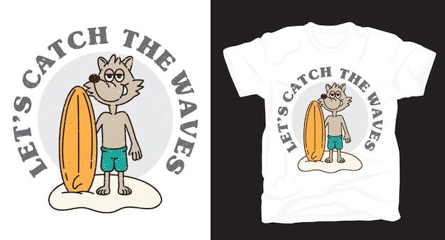 Cane con design t-shirt illustrazione tavola da surf