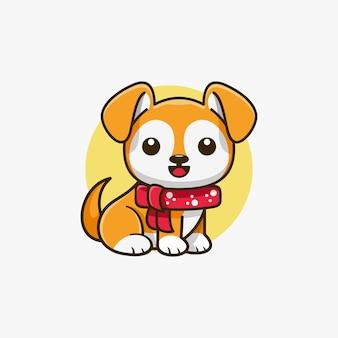 Illustrazione vettoriale di design del logo della mascotte del personaggio del cane