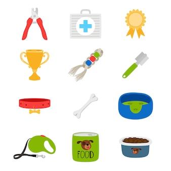 Accessori per cani, cibo, giocattoli, icone di vettore della scatola di aiuto