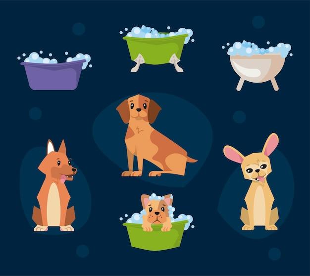 Collezione di cartoni animati per cani da bagno