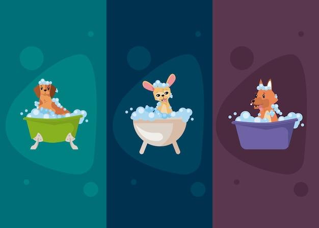 Insieme dell'icona di balneazione dei cartoni animati di cani