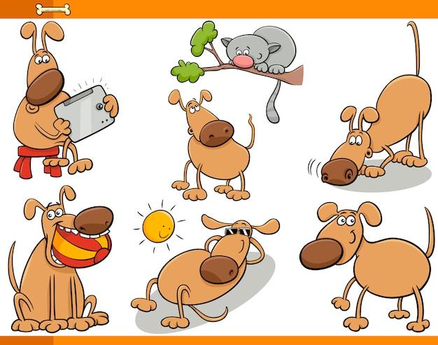 Set di cartoni animati di cani personaggi